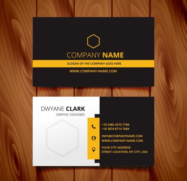 Mẫu name card kết hợp màu vàng và đen