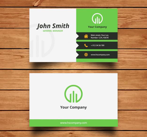 Mẫu name card màu xanh lá và đen
